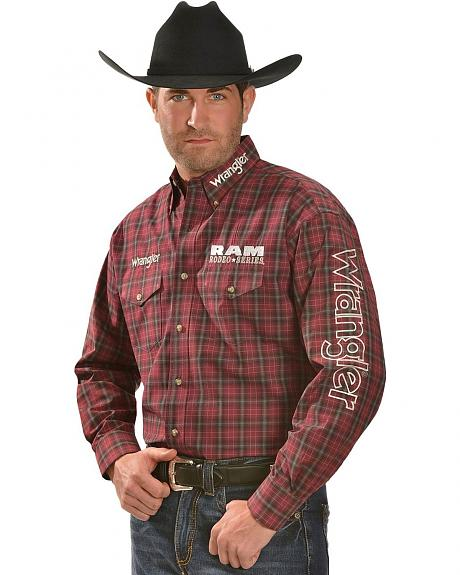 Wrangler Logo RAM Plaid Long Sleeve Shirt
