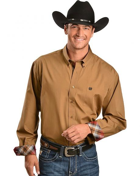 Cinch � Tan with Contrasting Cuffs Long Sleeve Shirt