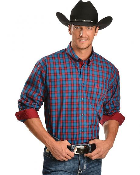Cinch � Blue & Red Plaid with Contrasting Cuffs Long Sleeve Shirt