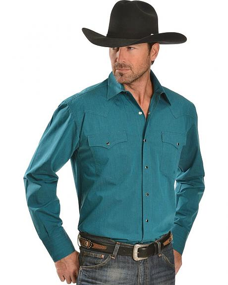 Roper Turquoise Poplin Long Sleeve Shirt