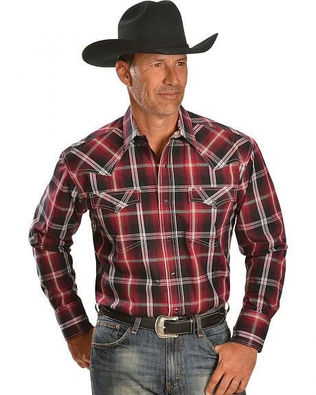 Roper Stone Fire House Plaid Snap Western Shirt