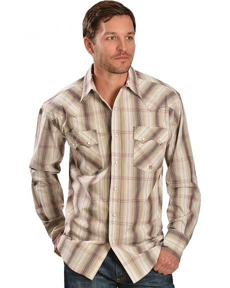 Roper Red Stone Red Fence Ombre Plaid Snap Shirt