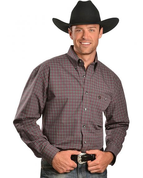 Wrangler George Strait Wine Plaid Shirt