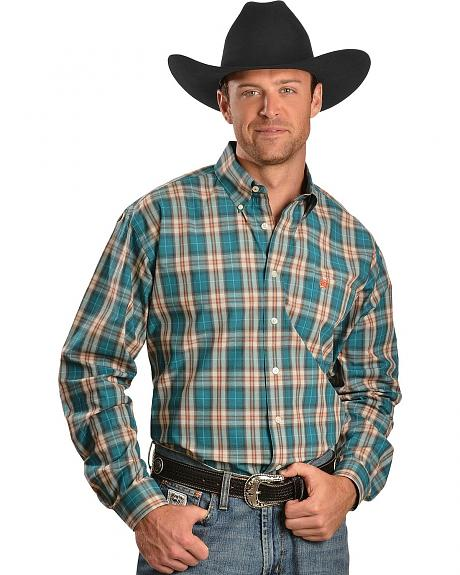 Cinch ® Turquoise & Orange Plaid Long Sleeve Shirt