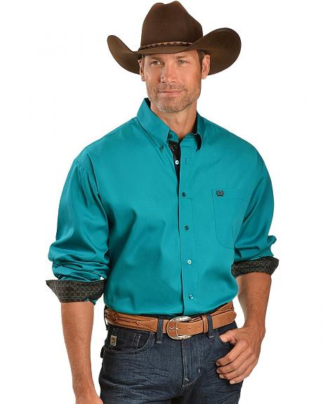 Cinch � Solid Turquoise with Contrasting Cuffs Long Sleeve Shirt