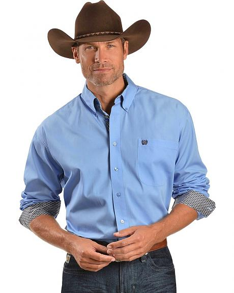 Cinch � Solid Blue with Basketweave Contrast Long Sleeve Shirt