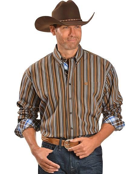 Cinch ® Brown & Blue Stripe Contrasting Cuffs Long Sleeve Shirt