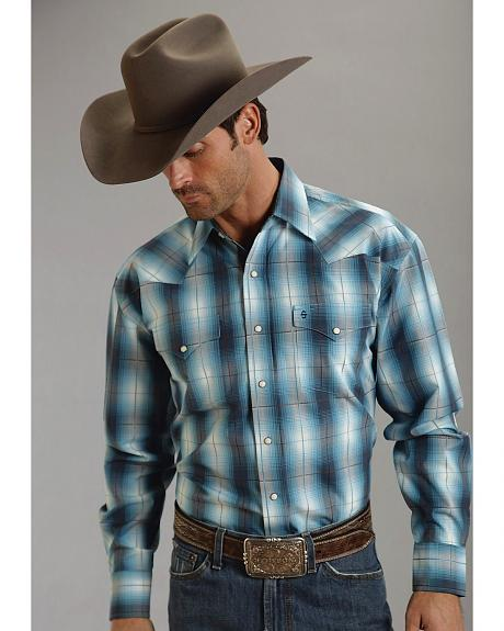 Stetson Turquoise Plaid Snap Western Shirt