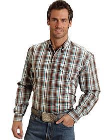 Stetson Men's Brown Plaid Satin Stripe Western Shirt