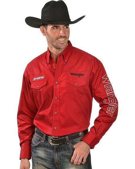 Wrangler Red Pbr Logo Embroidered Western Shirt Sheplers