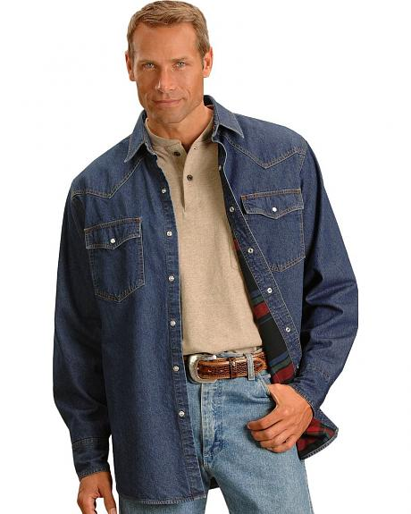 Ely Flannel Lined Denim Western Shirt