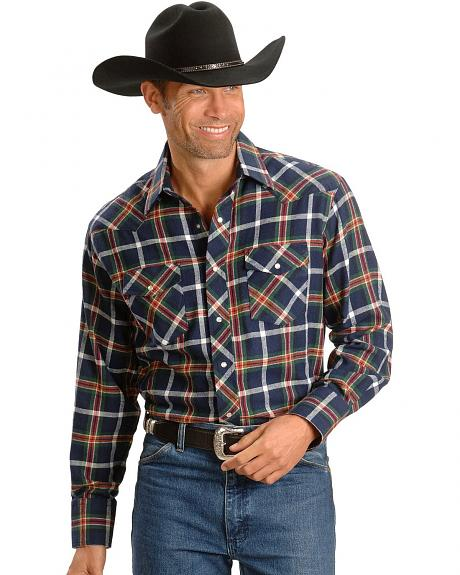 Wrangler Navy Plaid Flannel Western Shirt - Reg