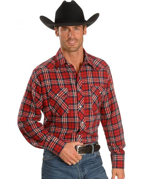 Wrangler Red Plaid Flannel Western Shirt - Reg
