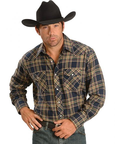 Wrangler Hunter Plaid Flannel Western Shirt