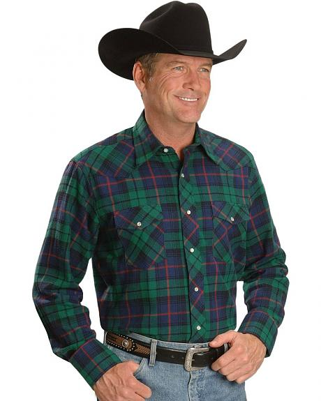Wrangler Plaid Flannel Western Shirt - Reg