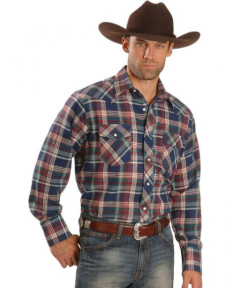 Wrangler Teal Plaid Flannel Western Shirt - Reg
