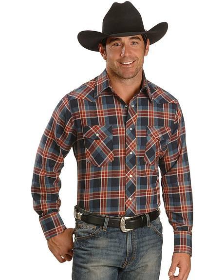 Wrangler Blue Multi Plaid Flannel Western Shirt - Reg