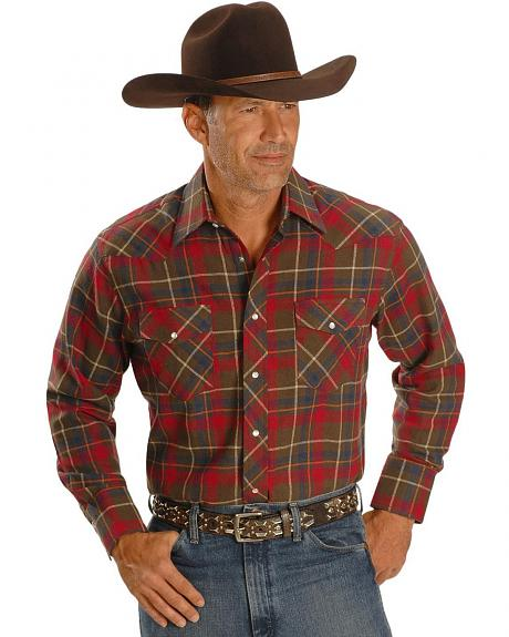 Wrangler Plaid Flannel Western Shirt