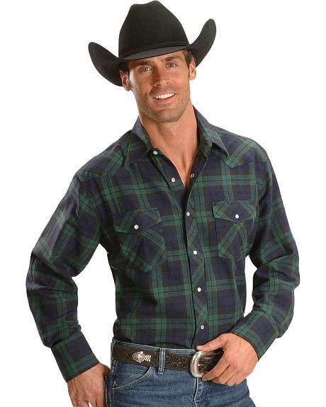Wrangler Green Plaid Flannel Shirt