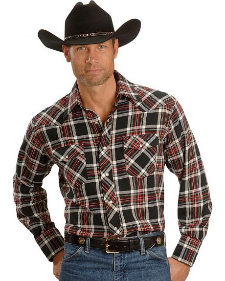Wrangler Black Plaid Flannel Western Shirt - Reg