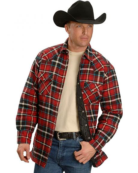Ely Plaid Quilted Flannel Western Shirt - Reg