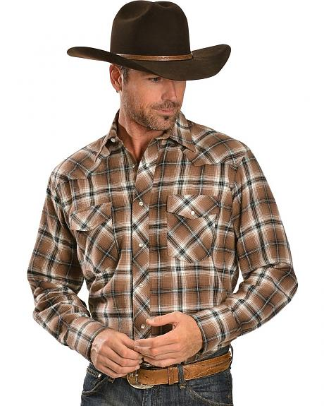 Wrangler Tan Plaid 4.5 oz. Flannel Western Shirt - Reg
