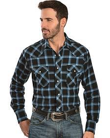 Wrangler Blue 4.5 oz. Flannel Plaid Western Shirt - Reg