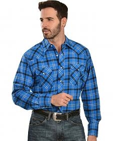 Wrangler Blue & Grey 4.5 oz. Flannel Plaid Western Shirt - Reg