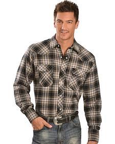 Wrangler Grey & Tan Flannel Western Shirt - Reg