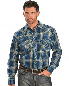 Wrangler Blue & Tan Plaid 6.5 oz. Flannel Western Shirt - Reg