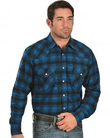 Exclusive Gibson Co. Blue & Black Plaid Flannel Western Shirt - Reg