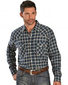Exclusive Gibson Trading Co. 4.5 oz. Blue Plaid Flannel Western Shirt - Reg