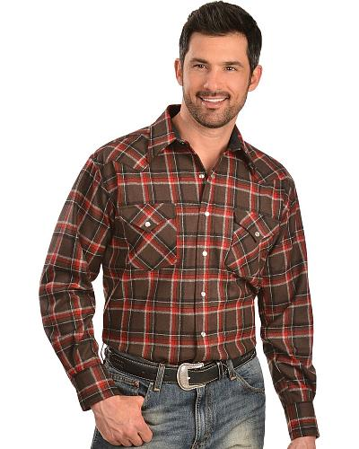 Pendleton Washable Wool Brown & Red Plaid Western Shirt Western & Country DA085-31347