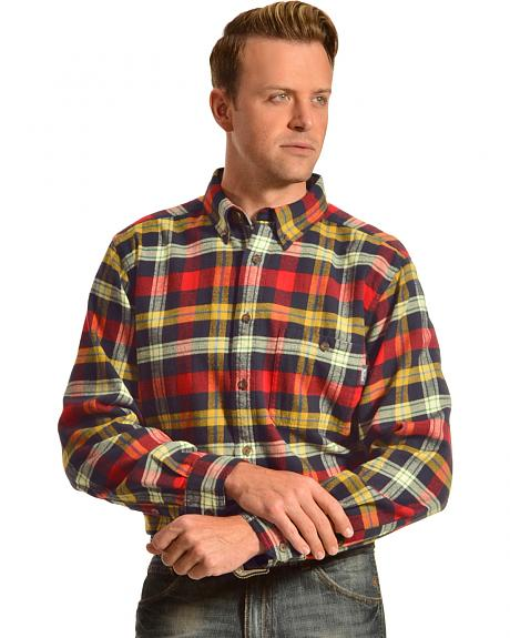 Woolrich Trout Run Navy and Red Plaid Flannel Shirt