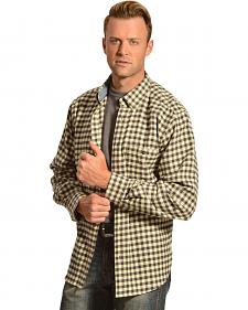 Woolrich Trout Run Slate Small Buffalo Plaid Flannel Shirt