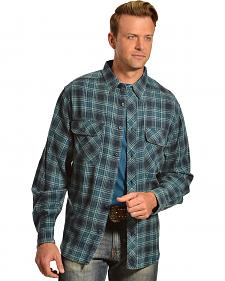 Woolrich Miners Wash Indigo Plaid Flannel Shirt