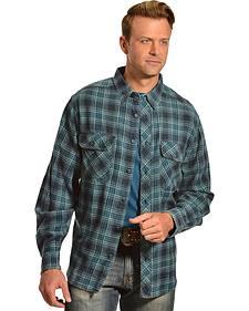 Woolrich Miners Wash Indigo Plaid Flannel Shirt