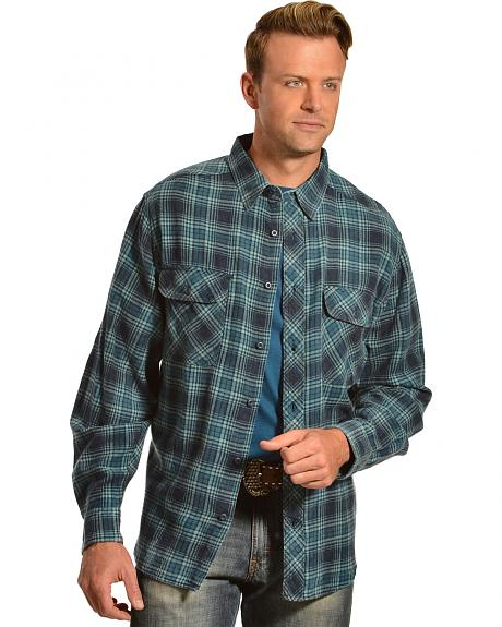 Woolrich miners wash indigo plaid flannel shirt sheplers for How to wash flannel shirts