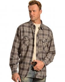Woolrich Miners Wash Charcoal Plaid Flannel Shirt