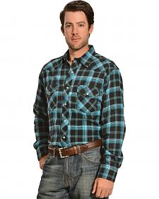 Wrangler Men's Black & Blue Plaid Flannel Shirt