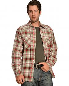 Wrangler Men's Tan & Red Plaid Flannel Shirt