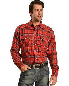 Wrangler Men's Red Plaid Flannel Shirt