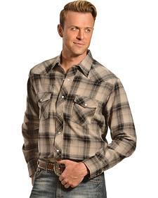 Wrangler Men's Black & Gray Plaid Flannel Shirt