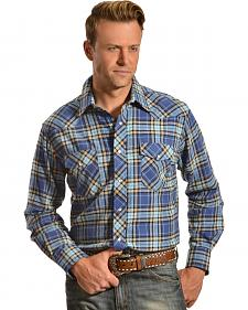 Wrangler Men's Blue Plaid Flannel Shirt
