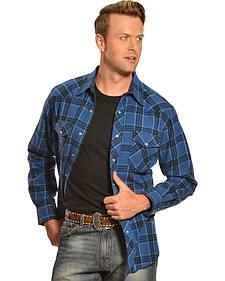 Wrangler Men's Blue Plaid Flannel Shirt