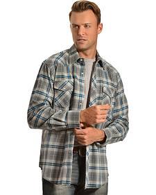 Wrangler Men's Gray & Blue Plaid Flannel Shirt