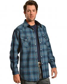 Pendleton Turquoise and Grey Plaid Snap Front Western Canyon Shirt