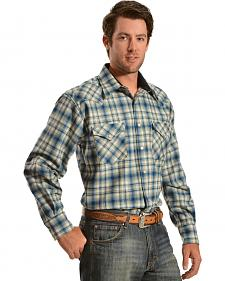 Pendleton Blue and Tan Plaid Snap Front Western Canyon Shirt