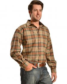 Pendleton Trail Elbow Patch Tan Plaid Shirt
