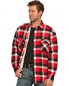 Woodland Trail Men's Red Plaid Sherpa Lined Flannel Shirt